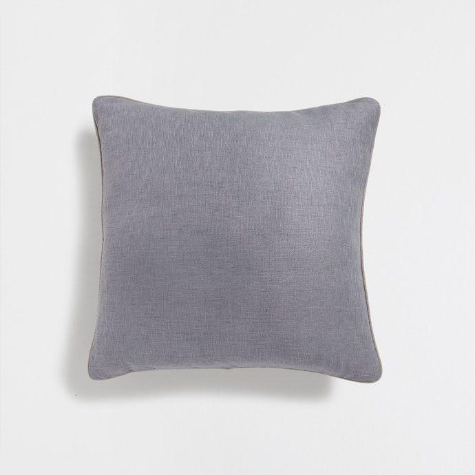 Εικόνα 1 του προϊόντος Γκρι λινό κάλυμμα μαξιλαριού χωρίς σχέδιο με ρέλι σε αντίθεση