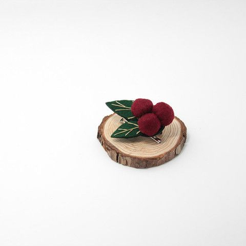 Felted Crafts Berry Bacca Jewelry Brooch Hair Clip