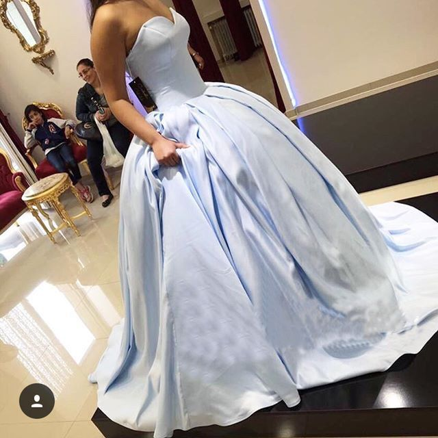 charming prom dresslong prom dressesball gown prom dresslight blue formal
