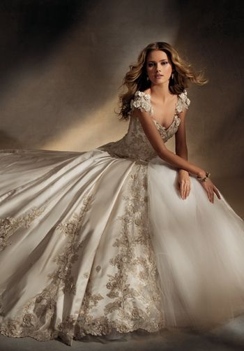 SILK SATIN AND TULLE BALL GOWN , DETACHABLE TRAIN,CAP SLEEVE, GOLD AND SILVER EMBROIDERY
