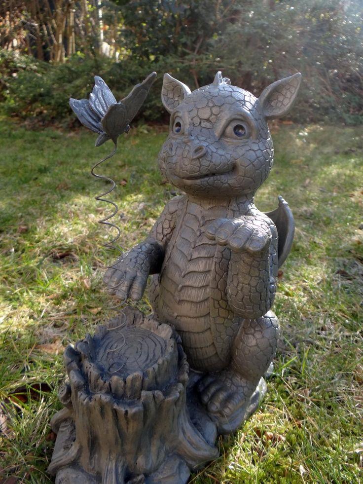 Dekowelt12 Statue de dragon mignon avec papillon: Amazon.fr: Jardin