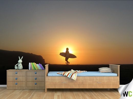 A wall mural of 'Surfing a Golden Sunrise' by Paul Jurak - now available on the Wallcreations website!