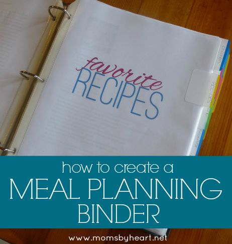 How to Make Your Own Meal Planning Binder – Day 5 Moms by Heart: Savings for Your Home & Family   momsbyheart.net