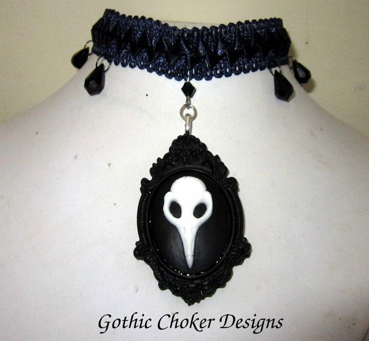 R160 approx $16 Purchase here: https://hellopretty.co.za/gothic-choker-designs/blue-choker-with-raven-skull-cameo