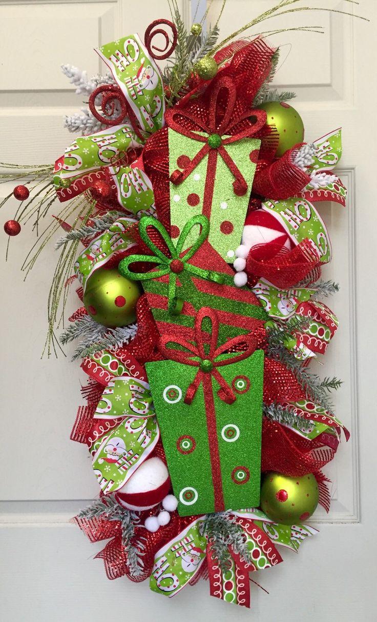 Christmas Glitz Mesh Swag Wreath by WilliamsFloral on Etsy https://www.etsy.com/listing/253568663/christmas-glitz-mesh-swag-wreath