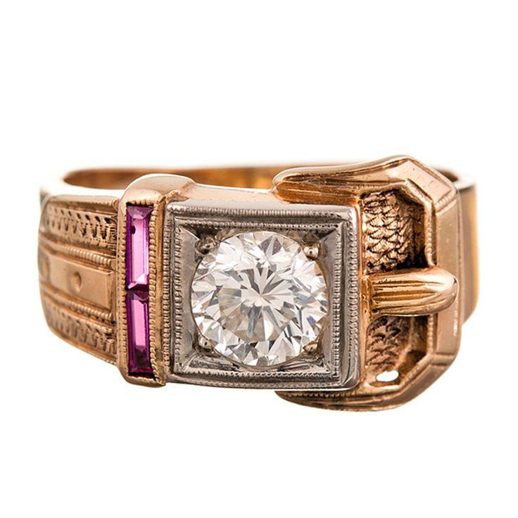 Charming 1940s Retro Buckle Ring with 1 Carat Diamond