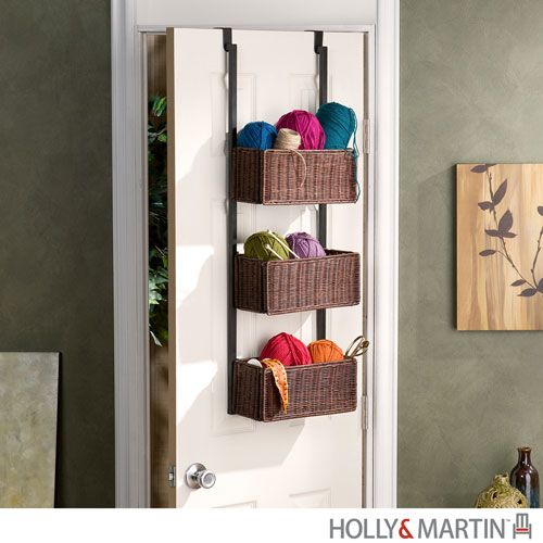 Hazel Espresso Stain Over-the-Door Three-Tier Basket Storage