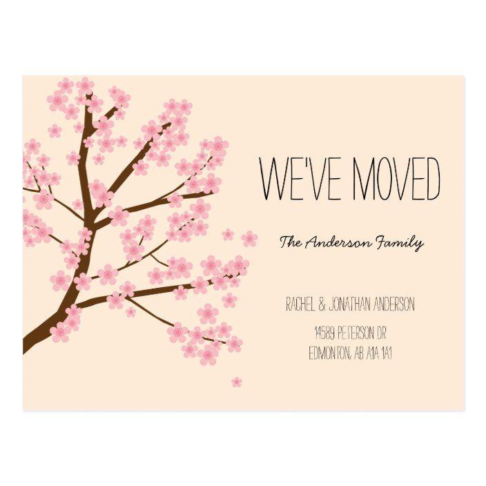 Pretty Cherry Blossoms Sakura Tree We Ve Moved Postcard Zazzle Com Weve Moved Postcards Sakura Tree Cherry Blossom