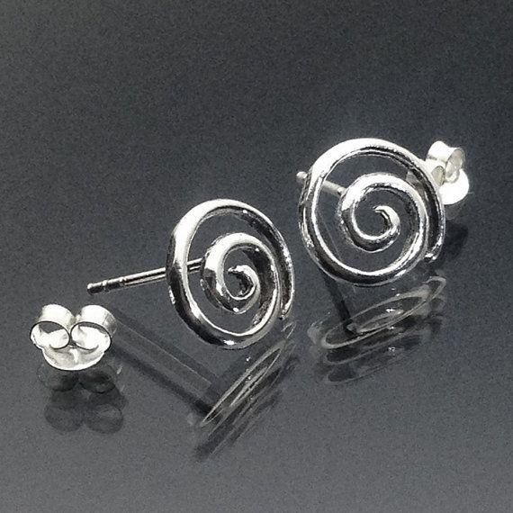 925 solid Sterling Zilver Swirl Stud Earrings/SWIRL oorbellen/geoxideerd/Swirl Stud Earrings/Swirl Silver