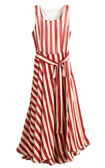 Red White Striped Sleeveless Belt Chiffon Dress
