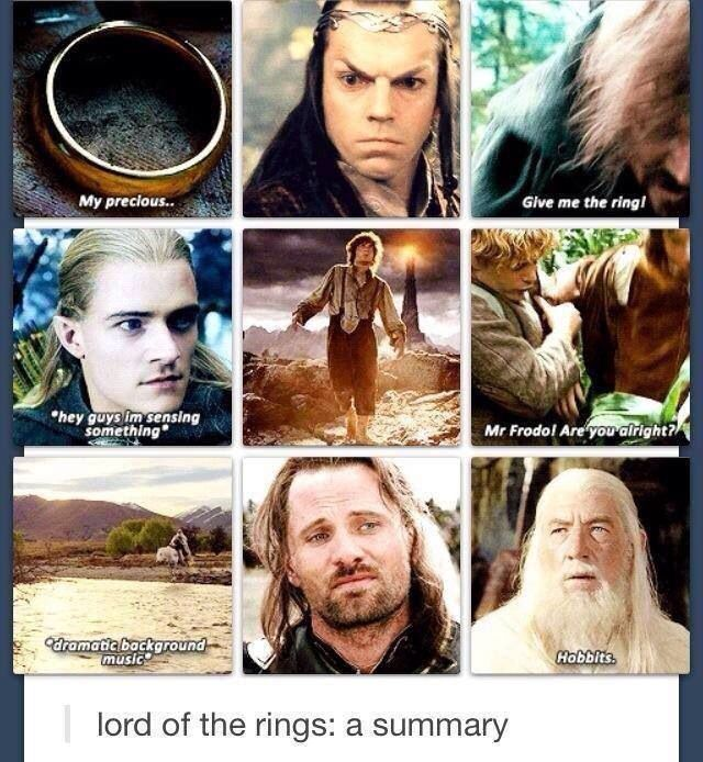 "Accurate, but conspicuously missing is, ""They're taking the hobbits to Isengard!"""
