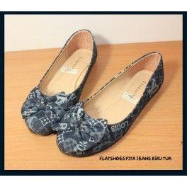 Flatshoes Pita Jeans Biru Tua