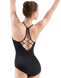 M4008LM - Mirella Rouleaux Knot Beaded Diamond Back Camisole Leotard