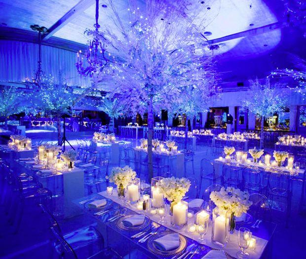 Amazing Setup At This Blue Uplighting Wedding Reception Diy
