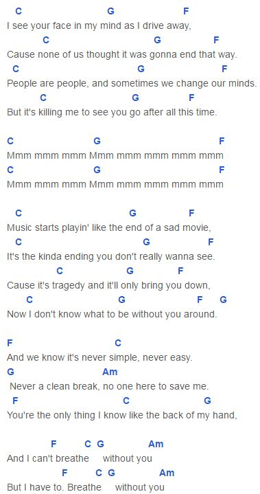 Breathe Chords Capo 1 Taylor Swift ft. Colbie Caillat