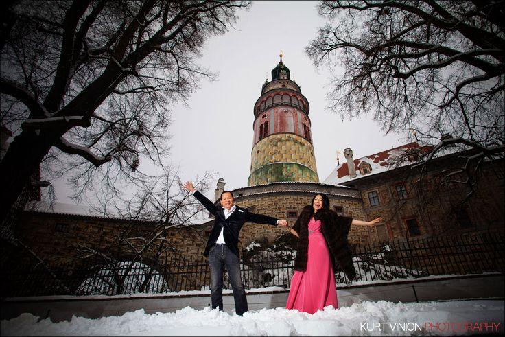 Helen & CY's beautiful Winter Pre-Wedding Portrait Session in Cesky Krumlov by Kurt Vinion (USA), The Prague Wedding & Luxury Lifestyle Portrait Photographer