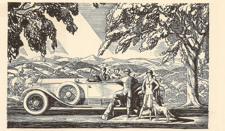 """Rolls Royce USA - press advert line drawing by Rockwell Kent, c1926 