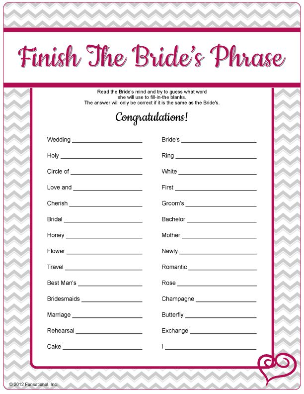 "Can you guess what the Bride will say when she's given a phrase such as ""White _______""? Was it White Wedding, White Dress, White Doves? We all know a Bride has a lot on her mind before her wedding - see if you can come close to finishing her phrase! Answer key and suggested answers included."