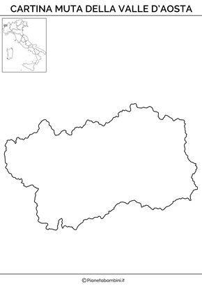 Cartina Muta Fisica E Politica Della Valle Daosta Da Stampare 1