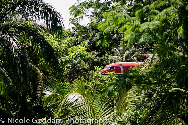 We love this view of our 727.  Almost looks LOST in the jungle.