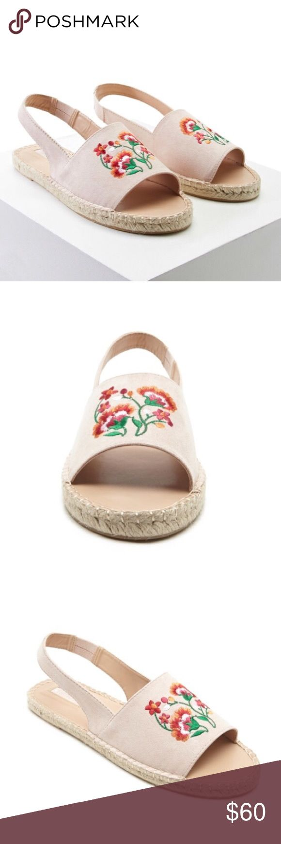 New Beautiful Floral Espadrilles Nude espadrilles 💗  Pair Of Espadrilles Featuring Top Floral Embroidery, A Sling Back, Open Toe, And A Braided Sole. Shoes Sandals