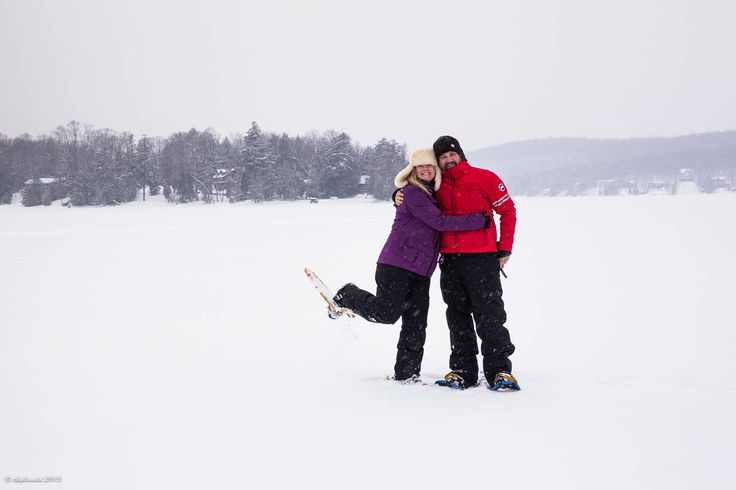 """This is us having a blast snowshoeing on Eagle Lake.... We've always said that """"A great adventure requires a mix of pampering and romance."""" Well, if you drive three-hours North of Toronto, Ontario to Sir Sam's Couple's Resort and Spa in Haliburton Highlands, you can have it all!"""