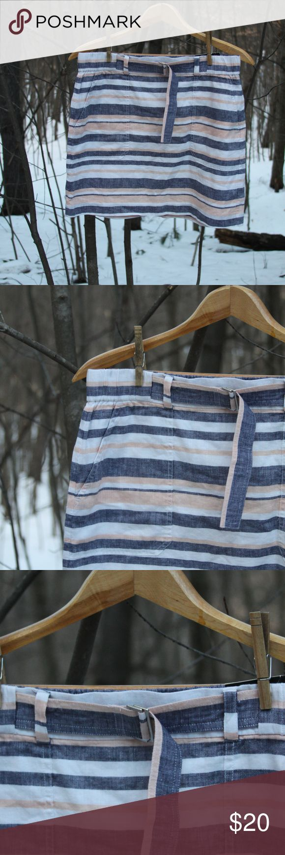 """Linen/cotton striped mini skirt w/belt (NWT) Cute, springy mini skirt with horizontal peach, blue and white stripes of varying widths.  Side pockets and one back pocket that is still stitched closed. Wide elastic waist with belt.  55% Linen, 45% Cotton with a 100% Cotton lining.  Waist 32"""" (unstretched); 36"""" (stretched) Overall length from waist to hem 16 1/4""""  All orders come with a free handmade lavender sachet! Banana Republic Skirts Mini"""