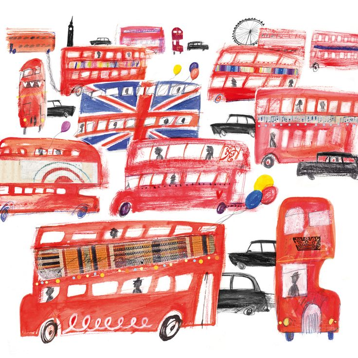 London Buses (LHC20) London Town & City Canvas by Laura Hughes http://www.thewhistlefish.com/product/london-buses-canvas-by-laura-hughes