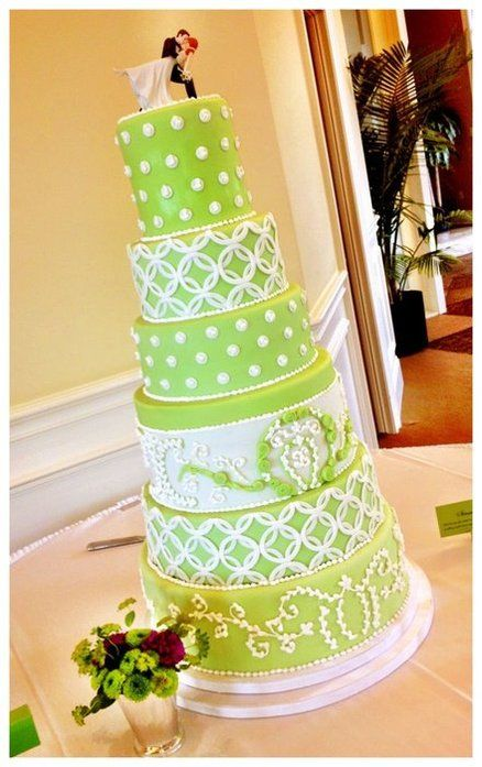 Apple Green Wedding Cake