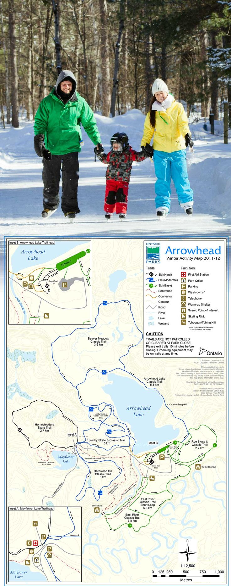 In the winter, Arrowhead grooms and maintains more than 33 km of cross-country ski trails that are designed for classic skiing or skate skiing.  Each trail is rated for difficulty and ranges from beginner to expert.  The park offers a variety of hiking/snowshoeing trails as well as a skating rink and skating trail. There are two warm-up shelters and an open fire pit at the top of the tubing hill!  http://www.ontarioparks.com/park/arrowhead