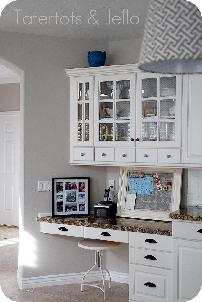 aqua and white kitchen reveal - Small Kitchen Desk Ideas