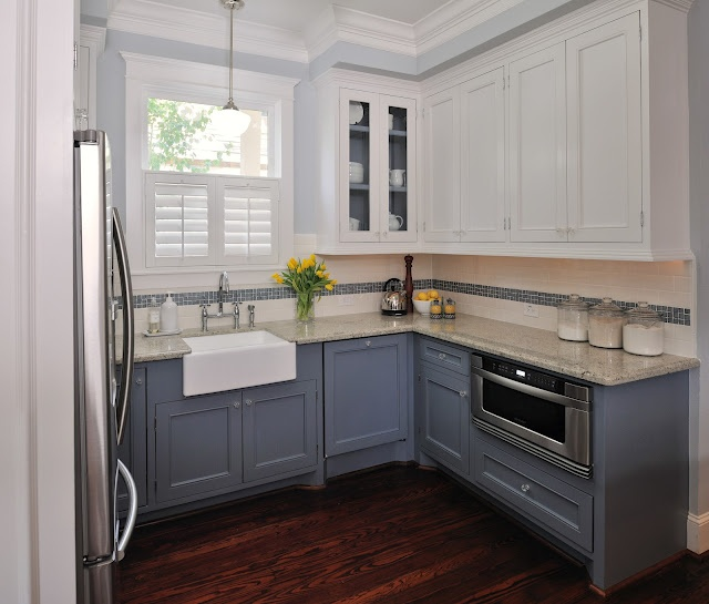 Design in the Woods: Vintage Charm in a Kitchen Hi Wendy, here are the colors.  Lower Cabinets and Island-SW 6249, Storm Cloud   Upper Cabinets and Trim-SW 7004, Snowbound   Interior of Upper cabinets with glass-SW 6249, Storm Cloud   Walls- SW 7071, Gray Screen   All paints Sherwin Williams