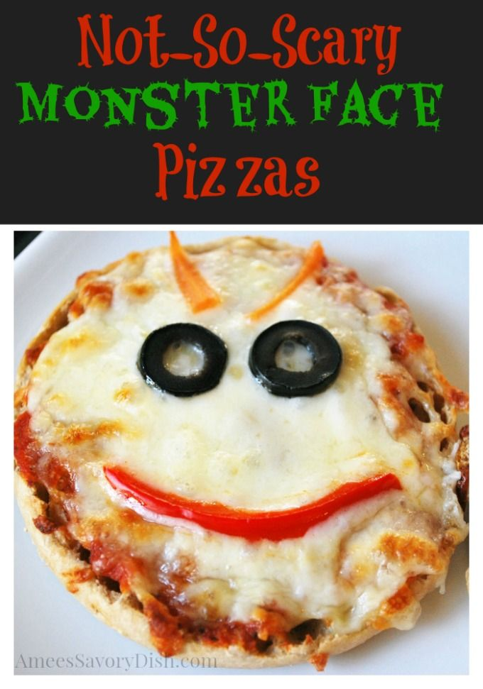 Kids love these easy monster face pizzas for #Halloween Not-So-Scary Monster Face Pizzas http://ameessavorydish.com/not-so-scary-monster-face-pizzas/