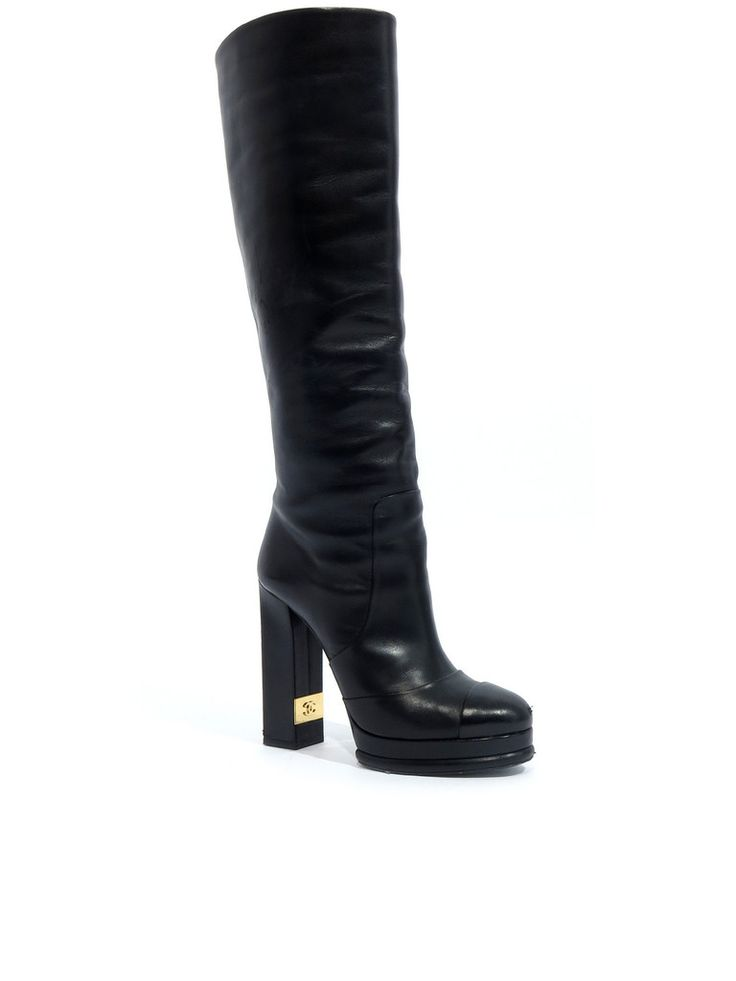 Chanel Leather Boots in black www.sabrinascloset.com