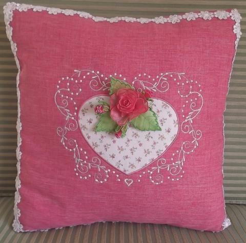 Rosebud Heart Cushion