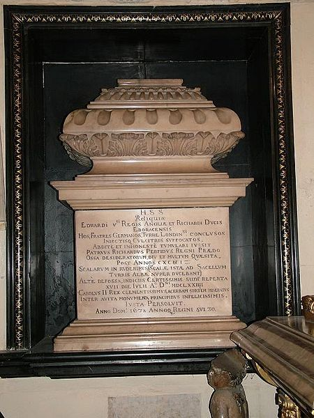 Tomb of the little Princes from the Tower, interred in the reign of Charles II after a long overdue state funeral. The two young boys bones were discovered under a staircase in the Tower of London. Richard III has long been suspected of having the boys killed as they stood in his way of the throne of England. Some doubt has been cast on the validity of such accusations as most of his character was defined by a William Shakespeare production.