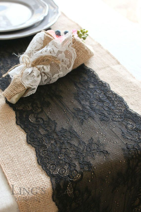 12 / 14 Wide Burlap and Black Lace Table by LingsWedding on Etsy