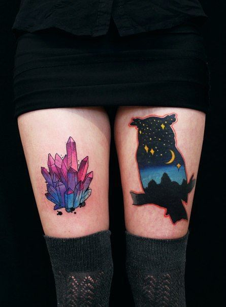 Original thigh tattoos. Could you tell who is the artist?