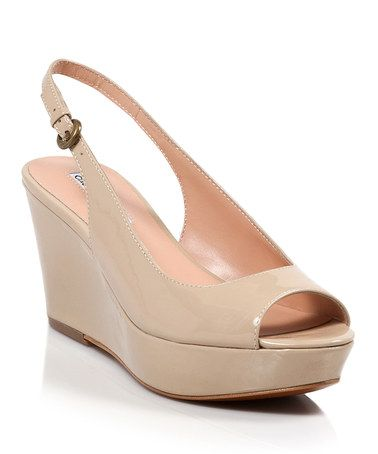Take a look at this Nude Patent Estuary Peep-Toe Wedge by Charles David on #zulily today!  GOT TO HAVE A NUDE SHOE!!!!!!