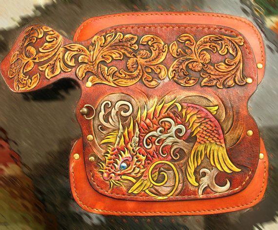 Tooled biker wallet Koi Dragon hand tooled hand carved