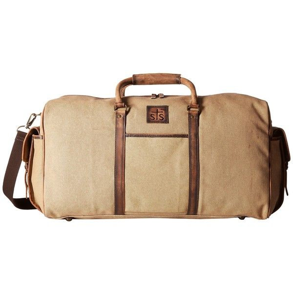 STS Ranchwear The Foreman Duffel Bag (Light Khaki Canvas/Leather)... ($145) ❤ liked on Polyvore featuring men's fashion, men's bags, men's duffel bags, men's canvas duffle bag, mens canvas bag, mens leather bag and mens leather duffle bag