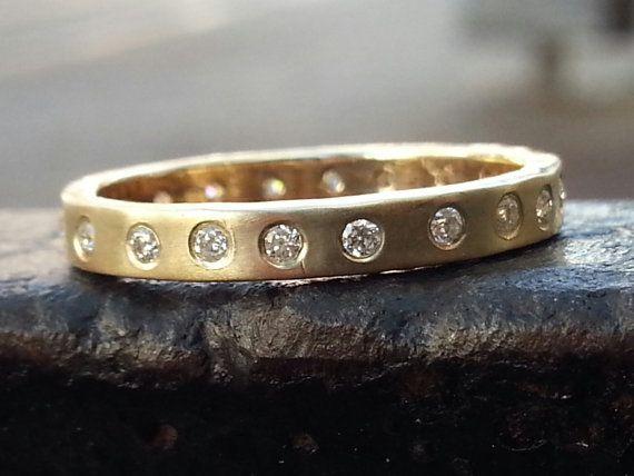 Infinity gold bandinfinity ringflush diamond by CJbijoux on Etsy