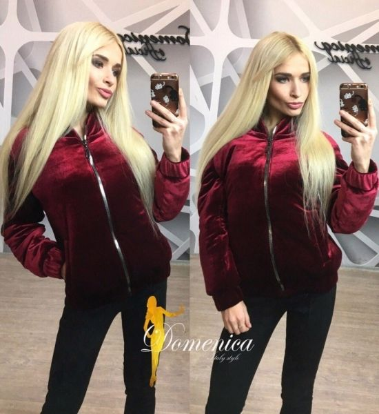 Женская куртка бархатная на силиконе бордовая