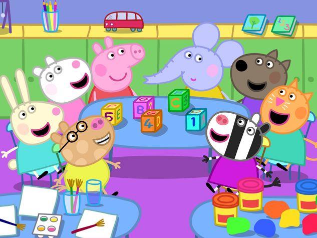 Peppa está feliz de estar con sus compañeros de clase.