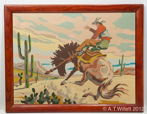 1957 Southwestern Painting Bucking Horse with Cowboy in the Desert old West  Paint By Numbers signed by Artist