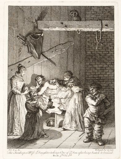 The Innkeeper's Wife & Daughter taking Care of ye Don after being beaten & bruised. Original copper engraving from the plate by Hogarth, as restored by James Heath and published by Baldwin, Cradock & Joy, Paternoster Row, London, c.1822.
