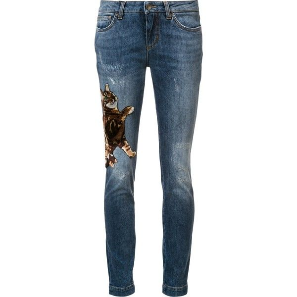 Dolce and Gabbana Cat Skinny Jeans ($1,395) ❤ liked on Polyvore featuring jeans, pants, good jeans, kirna zabete, kzloves, embroidery jeans, skinny jeans, faded blue skinny jeans, embroidered jeans and leather patch jeans
