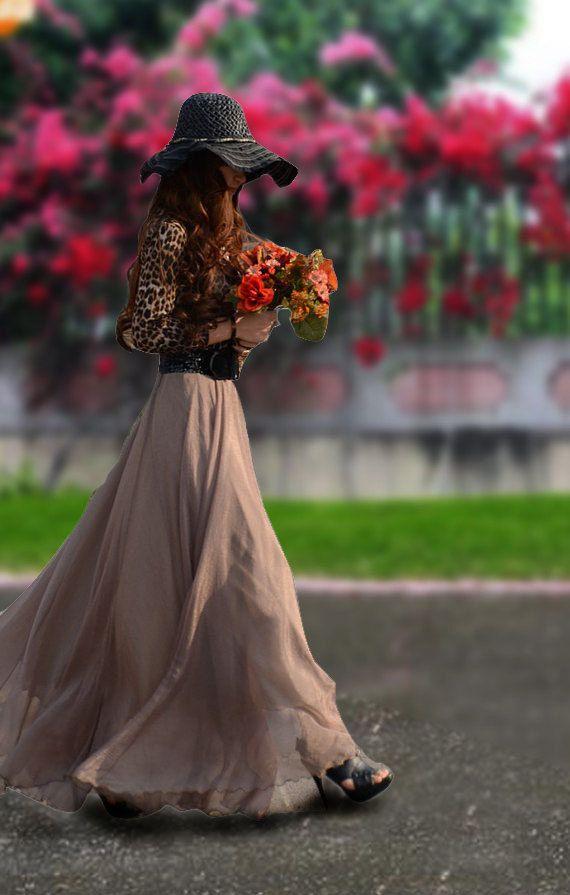 Chiffon Maxi SkirtSpring Long Skirt Maxi Dress by dresstore2000, $35.99