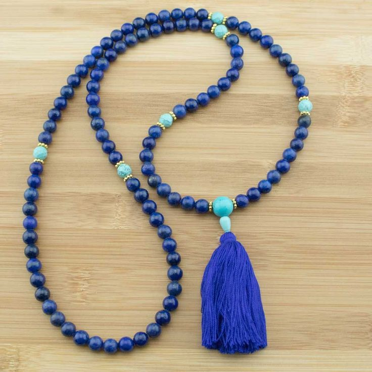 Lapis Lazuli Meditation Mala Necklace with Faceted Turquoise Howlite