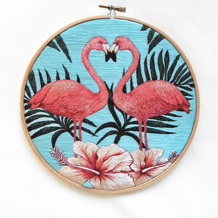 Ручная вышивка декор для дома картина Розовый фламинго в магазине «Шививка» на Ламбада-маркете